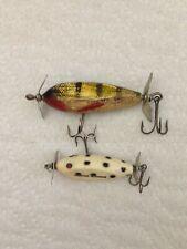2 Vintage Wood Injured Minnow Fishing Lures