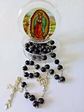 """NEW SILVER TONE WITH BLACK BEADS VIRGEN DE GUADALUPE 20"""" ROSARY ROSARIO (D1)"""