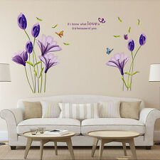 DIY Purple Lily Flowers Removable Vinyl Decal Wall Stickers Art Mural Home Decor