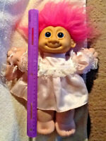 "Vintage Russ Berrie 12"" Cloth & Vinyl Troll Doll Pink Hair Satin Dress w/Purse"