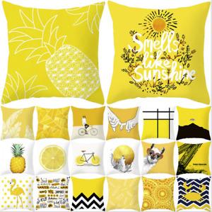 "UK 18"" YELLOW Pillows Case Sofa Car Waist Throw Polyste Cushion Cover Home Decor"