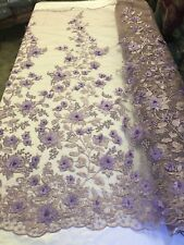 3D Flower-Floral LILAC Embroidered With Pearls Lace Fabric Wedding By The Yard