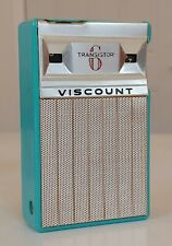 VINTAGE BLUE AQUA TURQUOISE VISCOUNT 6 TRANSISTOR RADIO w LEATHER CASE 1950s OLD