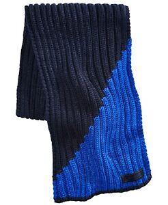 "Calvin Klein Men's Colorblocked Ribbed Scarf Blue Black 13"" Wide"