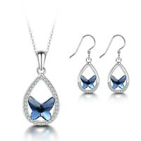 925 Sterling Silver Blue Butterfly Pendant Necklace and Dangle Earrings Set NEW