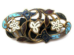 Art Nouveau Belt Buckle Enameled Guilloche Cloisonne Antique Blue Sash Ornament