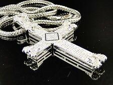 Mens White Gold Finish White Simulated Diamonds Xl Cross Charm Pendant Chain Set