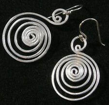 """.925 Sterling Silver Hammered Flat Round Swirl Spiral Dangle Earrings 1 5/8"""""""