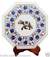 "14"" White Marble Coffee Table Top Lapis Lazuli Mosaic Elephant Marquetry Decor"