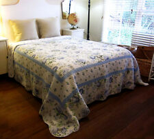 BEAUTIFUL 100% COTTON QUILTED BEDSPREAD - PRETTY FLOWERS - COTTAGE COUNTRY CHIC