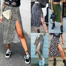 UK Womens Leopard Elastic Midi Wrap Skirt Summer Holiday Beach Split Dress