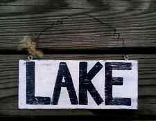 Lake sign wood wall plaque hand painted water front home decor