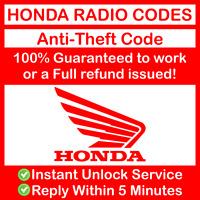 HONDA RADIO CODE Stereo / Navigation - ALL Models