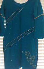 Ladies blue ( Ferozi) and Beige kameez kamiz shalwar salwar pants and dupatta