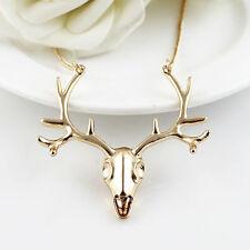 Stag Head Skull Necklace, antler, punk, goth, festival, vintage. gold