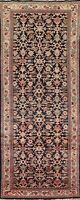 Vintage Geometric Mahal Hand-knotted Runner Rug Wool Oriental Staircase 4'x11'