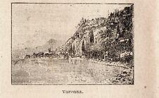Stampa antica VARENNA piccola veduta lago di Como Lecco 1899 Old print