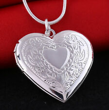 Heart Locket Pendant Necklace 925 Sterling Silver Plated Photo Picture Chain Set