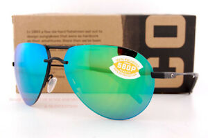 New Costa Del Mar Fishing Sunglasses HELO Matte Black Titanium Frames Green 580P