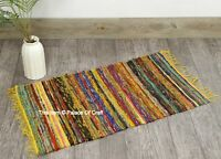 100% Recycled Cotton Yellow Woven Floor Mat Rag Handmade Indian Chindi Rug 2X3ft