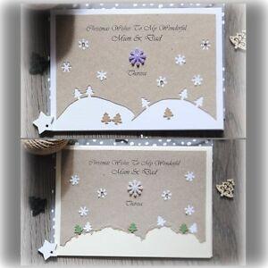 Pack of 5 Beautiful LUXURY Personalised Handmade Christmas Cards Mum Dad Friend