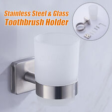 Stainless Steel Toothbrush Toothpaste Holder w/ Glass Cup Bathroom Wall Mounted