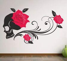Wandaufkleber Wandtattoo Aufkleber 2 farbig Tattoo Dekor Skull Rose Tribal  44