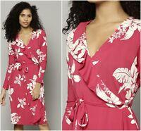M&S Collection Floral Print Ruffle Wrap Pink Tea Midi Dress