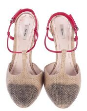 Miu Miu Burlap T Strap Shoes 40 10 9.5