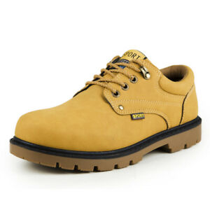 Mens Outdoor Hiking Leather Shoes Lace up Non-slip Desert Low Top British Casual