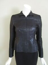A-K-R-I-S- Akris Black Sparkle Metallic Full Zip Pleated Peplum Blazer Size 4