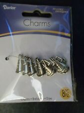 NEW Darice 8 Piece Cheer Logo Megaphone Charms Jewelry Designer Silver Plated