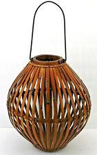 "Bamboo Wood Basket w/ Metal Handle 13"" tall Decorative Dried Flowered Storage"