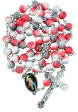 Marble Tone Prayer Bead Rosary with Divine Mercy Icon Centerpiece, 20 Inch