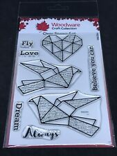 Woodware clear stamp set - Paper Birds script / text Fly Love Always Dream etc