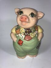 Vintage Piggy Bank with Long Real Eyelashes Hand Painted Cowboy Farmer Farm 4H