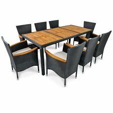 Gartenmöbel Garnitur Set Polyrattan Sitzgruppe 9tlg Holz Gartenset Stapelsessel