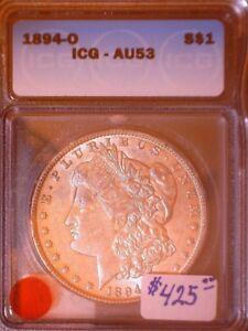 1894-O $ Morgan Silver Dollar, ICG, AU-53, BM