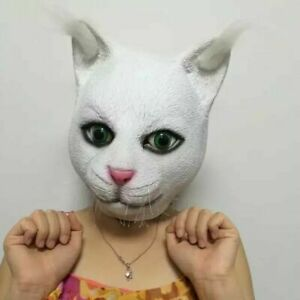 Latex Cute Cat head hooded Mask Halloween Masquerade Costume Party Cosplay Props