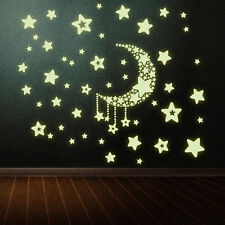 Creative Luminous Stars Moon Fluorescent PVC Wall Stickers Mural Decal Decor