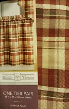 "NEW! Window Curtain Panel Pair 58""x45""  Tier  REBECCA PLAID"