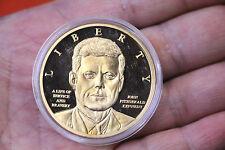 JOHN F. KENNEDY JFK Anniversary American Mint Proof 24K gold pltd medallion LQQK