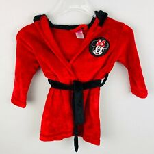 Disney Minnie Mouse Red Black Tie Front Robe 2T/3T Babies