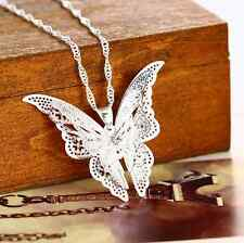 Women Fashion Jewelry Silver Plated hollow Butterfly Necklace Pendant For Gift