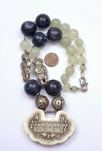 1930's Chinese Silver Lock Pendant Charms Lapis Serpentine Carved Bead Necklace
