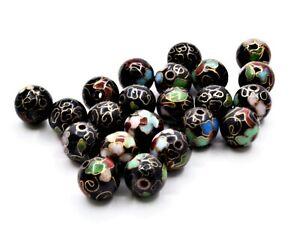 6pc 10 mm Vintage Cloisonne Enamel Beads. Handmade with Black Enamel in Floral