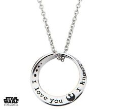 NEW Star Wars Sterling Silver Circle Mobius I Love You I Know Gift Necklace
