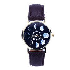 Women Watches Unisex Moon Lunar Eclipse Leather Band Analog Quartz Wristwatch #4
