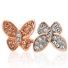 Rose Gold Plated Butterfly Motif Ring with Sparkling Crystals by Matashi Size 7