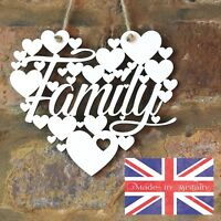 Family White Love wall hanging heart gift decoration art wooden sign